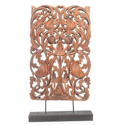 Carved Mahogany Floral Lattice Sculpture