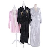 Natori and Vanity Fair Sleepwear with Chinese Dragon Embroidered Silk Robe