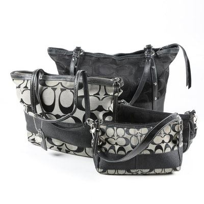 Coach Signature Black Jacquard Shoulder Bag, Tote and Handbags