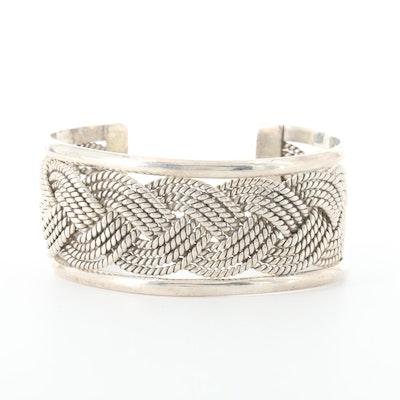 Sterling Silver Braided Rope Motif Cuff Bracelet
