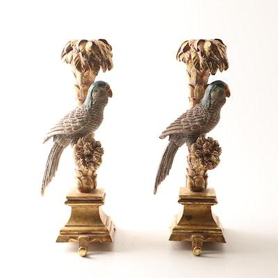 Gilt Composite Parrot Candlestick Mantel Hooks, Contemporary