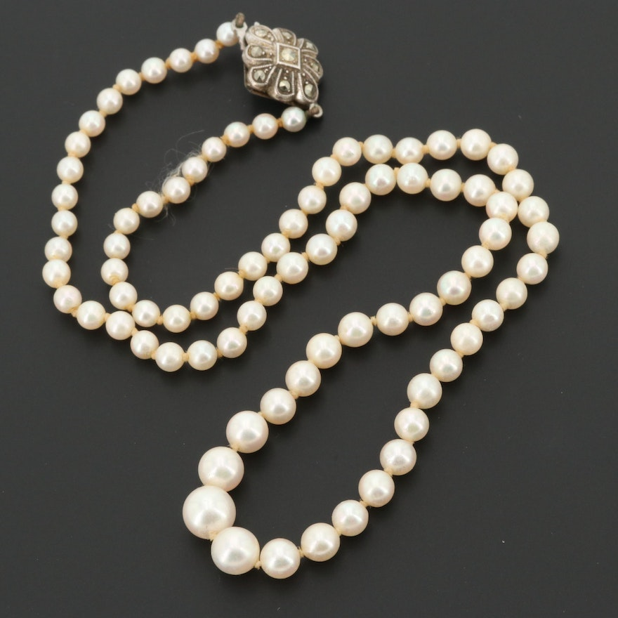 Vintage Sterling Silver Cultured Pearl and Marcasite Graduating Necklace