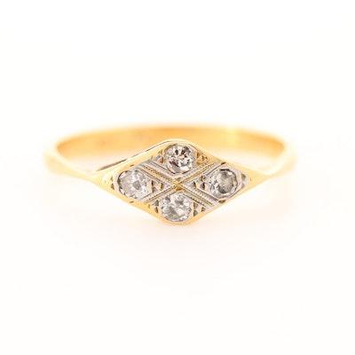 Antique 18K Yellow Gold and Platinum Diamond Ring