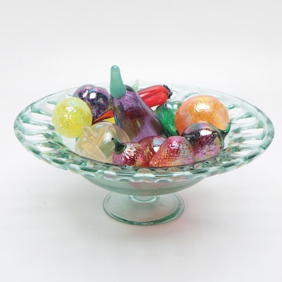 Pressed Glass Centerpiece Bowl with Glass Fruit, Mid to Late 20th Century