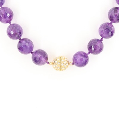 Faceted Amethyst Beaded Necklace with Rhinestone Encrusted Clasp