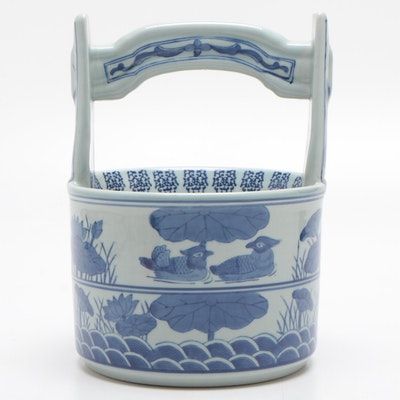 Chinese Ceramic Basket with Duck and Lotus Motif, Late 20th Century