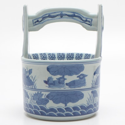 Chinese Style Ceramic Basket with Nature Motif, Mid to Late 20th Century
