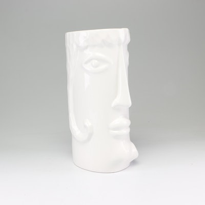 White Ceramic Figural Two-Sided Face Vase, Contemporary