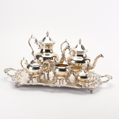 Birmingham Silver Plate Tea and Coffee Service with Footed Serving Tray