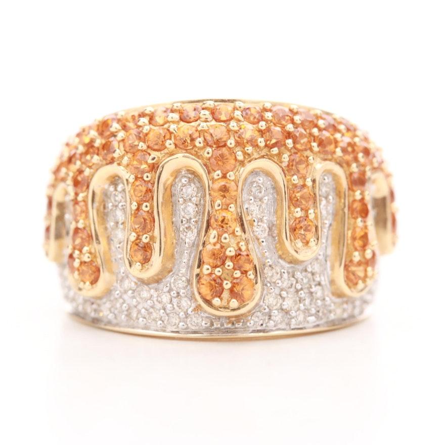 14K Yellow Gold Citrine and Diamond Drip Ring