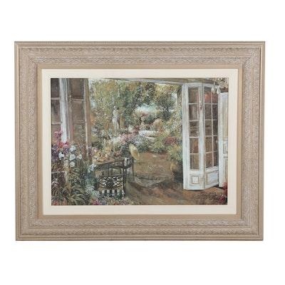 """Offset Lithograph """"A Garden Room"""""""