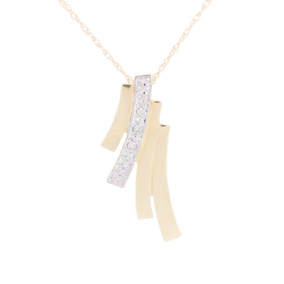 14K Yellow Gold Diamond Sliding Pendant Necklace