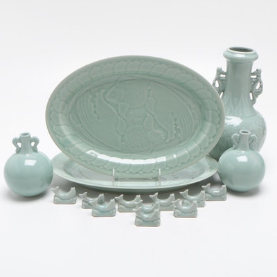 Chinese Green Celadon Ceramic Vases, Koi Serving Plates, and More