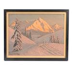 Roger de la Corbière Snowscape Oil Painting