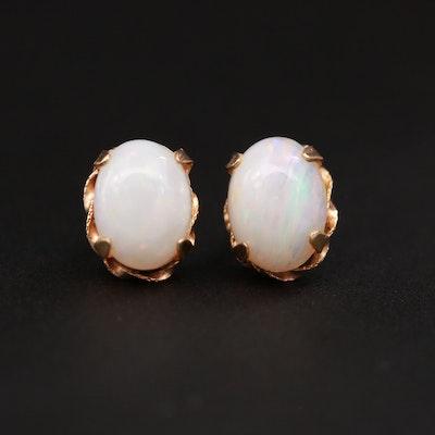 10K Yellow Gold Opal Stud Earrings