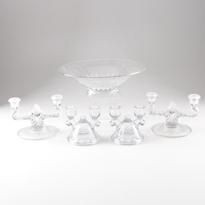 """New Martinsville Console Set and Imperial Glass """"Crocheted Crystal"""" Candlesticks"""