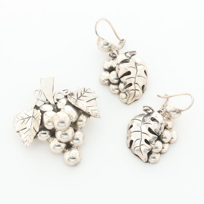 Mexico Sterling Silver Grape Vine Motif Converter Brooch and Earrings Set