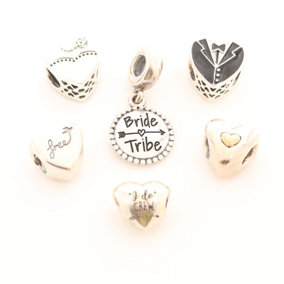 Six Pandora Sterling Silver Enamel Charm Beads