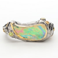 Sterling Silver Abalone Freeform Cuff Bracelet with Peridot and Sapphire Accents