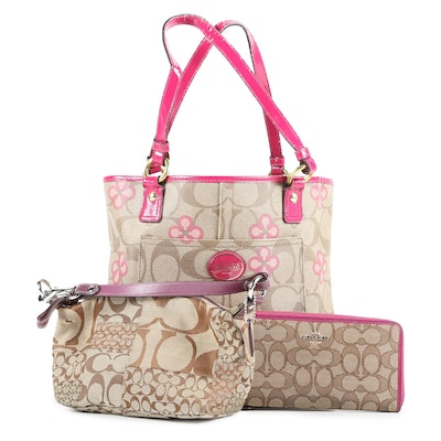 Coach Peyton Signature Clover Tote, Accordion Zip Wallet and Patchwork Handbag