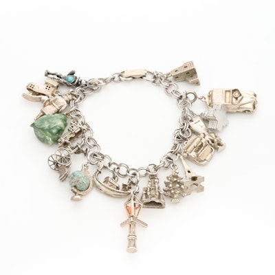 Vintage Charm Bracelet with Mixed Metal Travel Charms Including Sterling Silver
