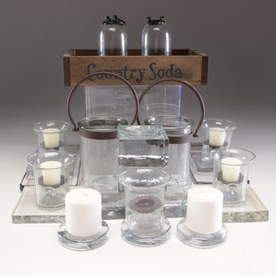 Tender Heart Treasures Wooden Crate, Glass Candle Holders, and Glass Blocks