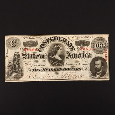 T-56 $100 Confederate States of America Obsolete Currency Note