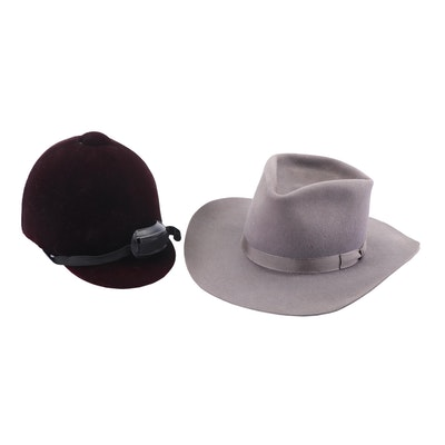 Texas Hatters Gray Felted Custom Western Hat and Equestrian II Brown Hunt Cap
