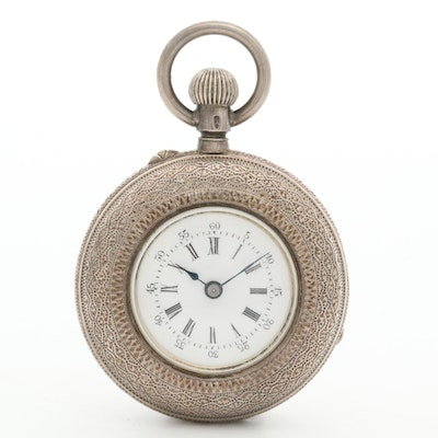Antique Jules Gallet Lady Racine 935 Sterling Silver Open Face Pocket Watch