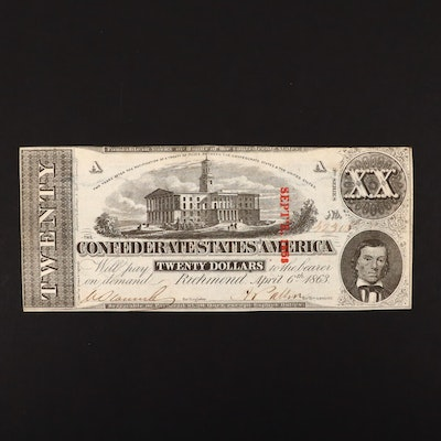 T-58 $20 Confederate States of America Obsolete Currency Note
