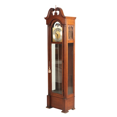 Colonial Manufacturing Company Cherry Finish Grandfather Clock, Vintage