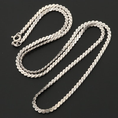 Sterling Silver Serpentine Chain Necklace