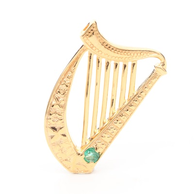 Gold Wash on Sterling Silver Emerald Irish Harp Pendant