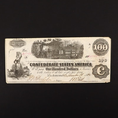 T-39 $100 Confederate States of America Obsolete Currency Note