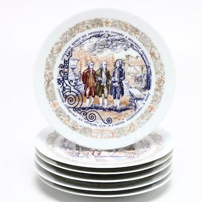 Henri D'arceau .L. & Fils Porcelain Cabinet Plates, 1970s