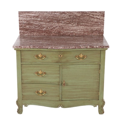 Late Victorian Green-Painted and Variegated Marble Serpentine-Front Washstand