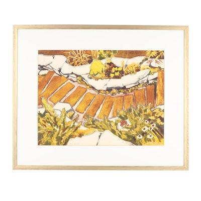 """Carl E. Schwartz Lithograph """"Rock Garden I"""""""