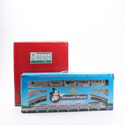 Disney Holiday Platter and Toy Monorail Train