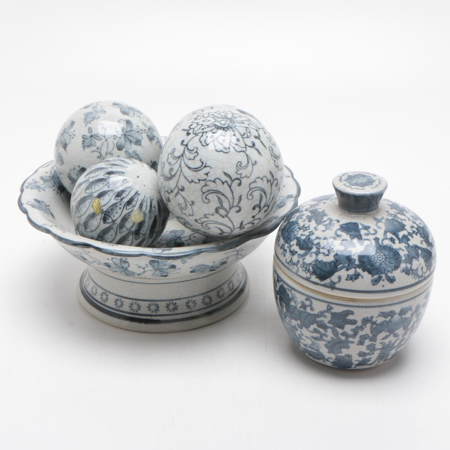Chinese Export Porcelain Ginger Jar, Compote, and Spheres, Mid-20th Century