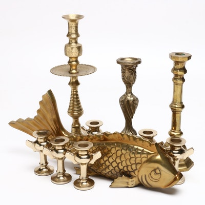 Fish Figure and Candle Holders with Brass Wash Finish, Mid to Late 20th Century