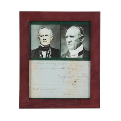 Sam Houston Signed Portion of a Letter Framed with Photo Prints
