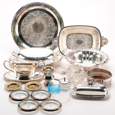 """International Silver Co. """"Orleans"""" Bowl with Other Silver Plate Serveware"""