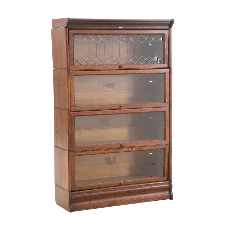 C J Lundstrom Oak Barrister Bookcase Early 20th Century