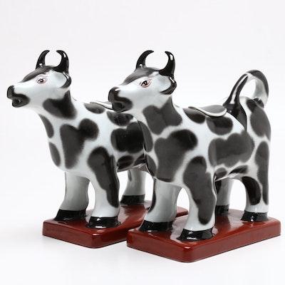 Maitland-Smith Ceramic Standing Cow Creamers, Mid-Century