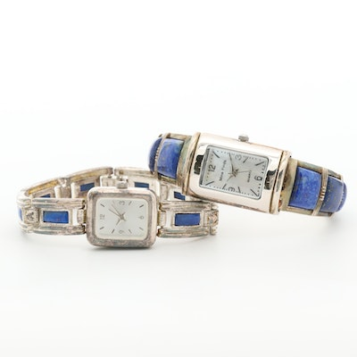 Pair of Sterling Silver and Lapis Lazuli Quartz Wristwatches