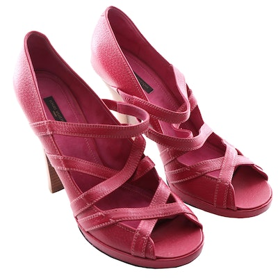 Louis Vuitton Fuchsia Textured Strappy Leather Platform Open Toe Pumps