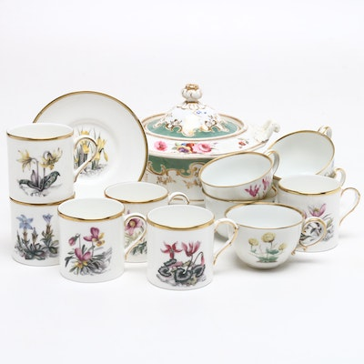 Royal Worcester and Other Porcelain Tea Cups, Saucers and Serveware