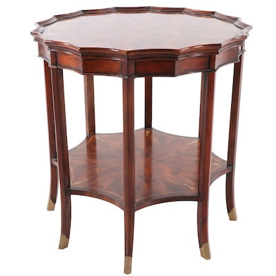 Theodore Alexander Regency Style Mahogany Mother-of-Pearl Inlay Side Table