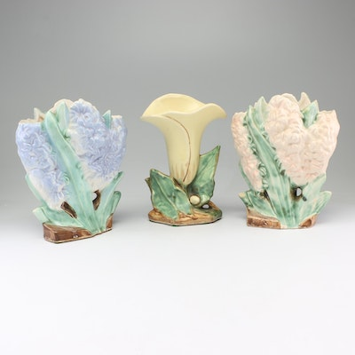 "McCoy ""Lily"" and ""Hyacinth"" Earthenware Vases, Early to Mid 20th Century"