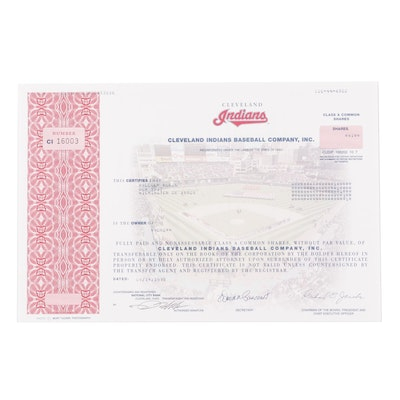 Cleveland Indians MLB Baseball Stock Certificate